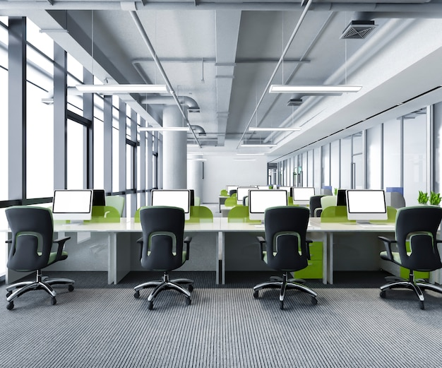 Incontro di lavoro verde e sala di lavoro in edificio per uffici Foto Premium