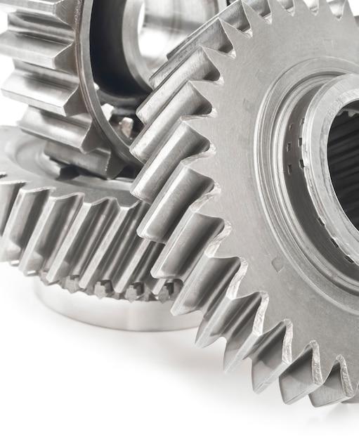 Ingranaggi in acciaio inossidabile reale isolati Foto Premium