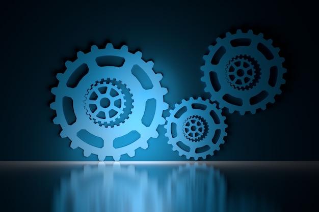 Ingranaggi meccanici su superfici riflettenti lucide in blu e nero Foto Premium
