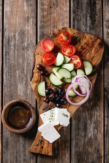 Ingredienti per insalata greca Foto Premium