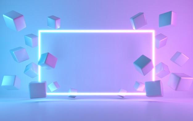 Insegna al neon con cubo. rendering 3d Foto Premium
