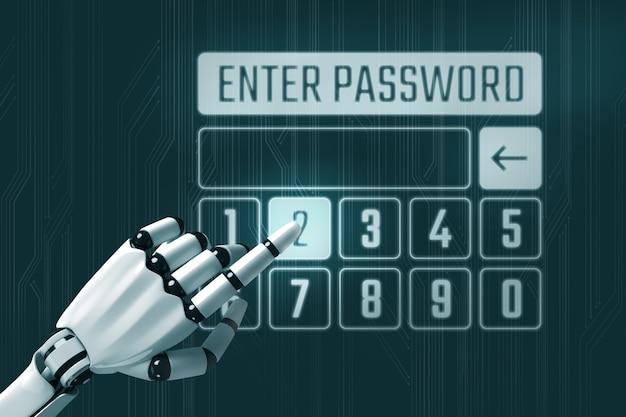 Inserisci il concetto di password con il robot Foto Premium