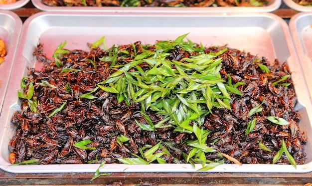 Insetti fritti, cibo esotico asiatico, cricket fritto Foto Premium