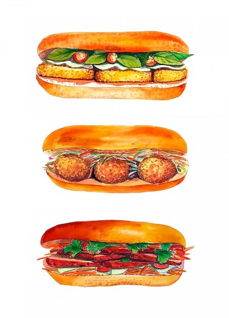 Insieme del panino dell'acquerello isolato su fondo bianco. Foto Premium