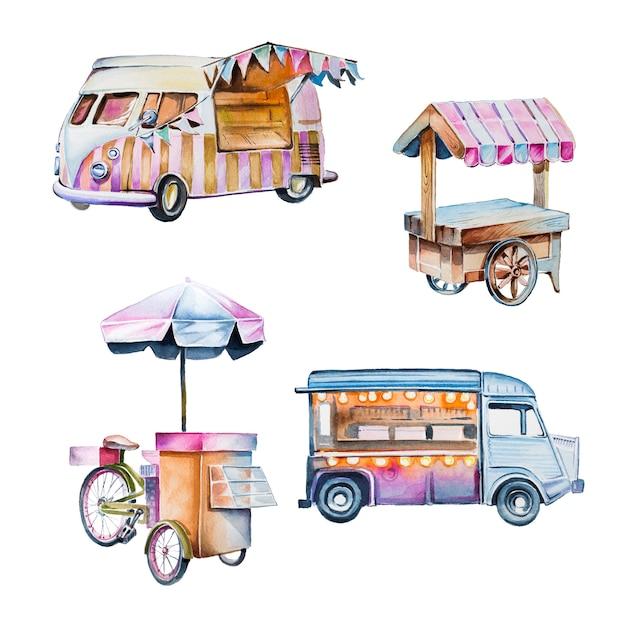 Insieme di clipart dei carrelli d'annata dipinto a mano dell'acquerello. furgoni dell'alimento dell'annata isolati su un bianco Foto Premium