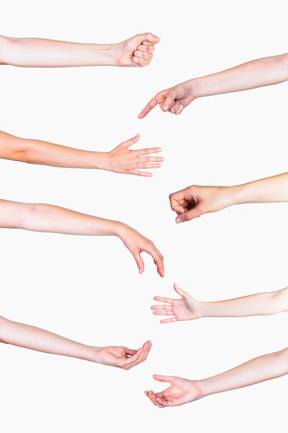 Insieme di vari gesti delle mani su sfondo bianco Foto Gratuite