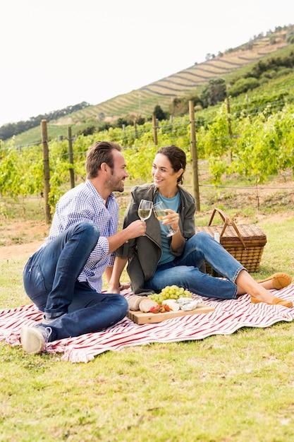 Integrale delle coppie sorridenti che tostano i bicchieri di vino Foto Premium