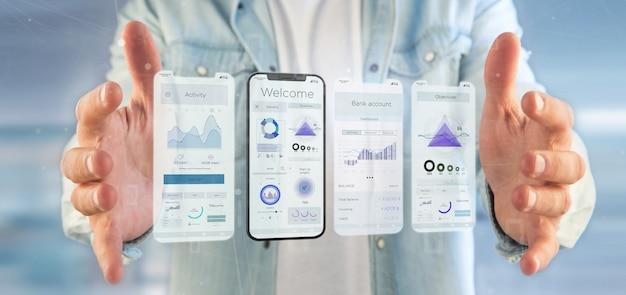 Interfaccia utente di interfaccia utente su uno smartphone - rendering 3d Foto Premium