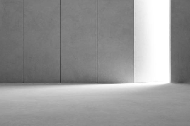 Interior design astratto dello showroom moderno con pavimento in cemento grigio vuoto Foto Premium