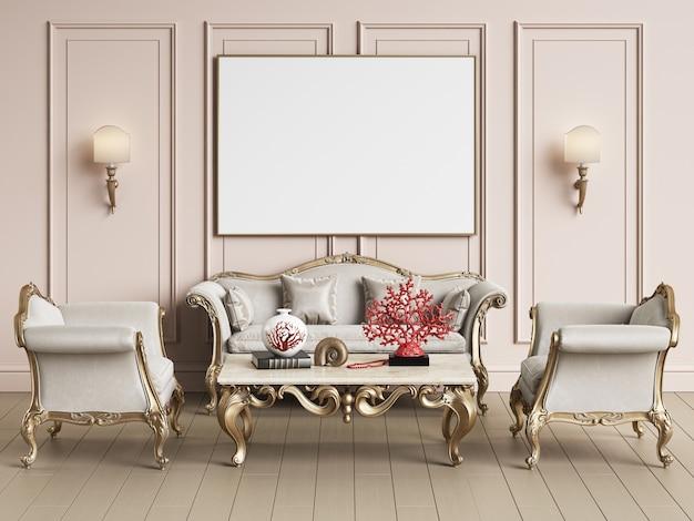 Interior design classico con copia spazio. modello. illustrazione digitale rendering 3d Foto Premium