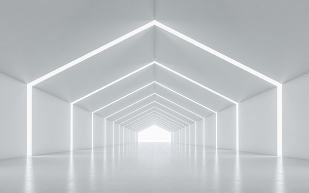 Interior design del corridoio illuminato Foto Premium