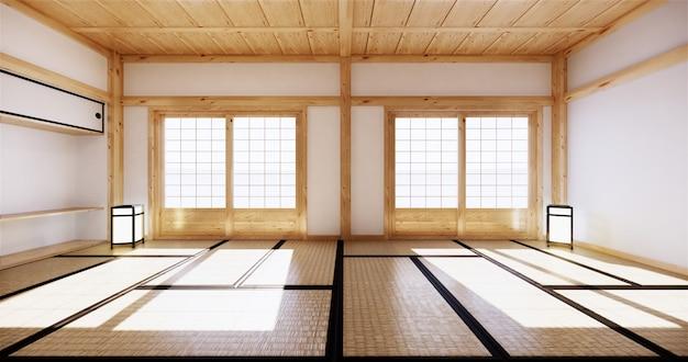 Interior design, soggiorno moderno con tatami mat e tradizionale porta giapponese sulla migliore vista della finestra. rendering 3d Foto Premium