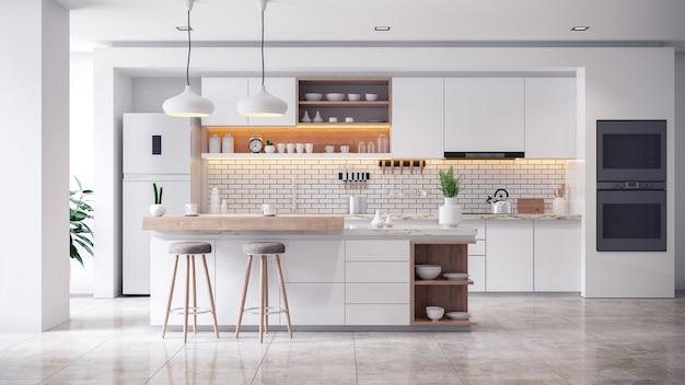 Interiore della stanza bianca accogliente cucina moderna Foto Premium