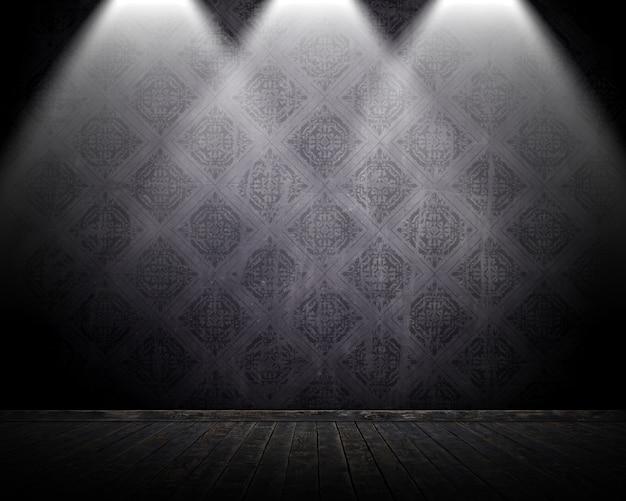 Interiore della stanza di stile del grunge 3d con i riflettori che brillano giù Foto Gratuite