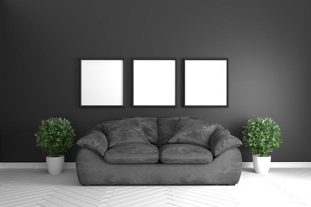 Divano Nero E Bianco : Interiore della stanza nera con divano nero e piante nel pavimento