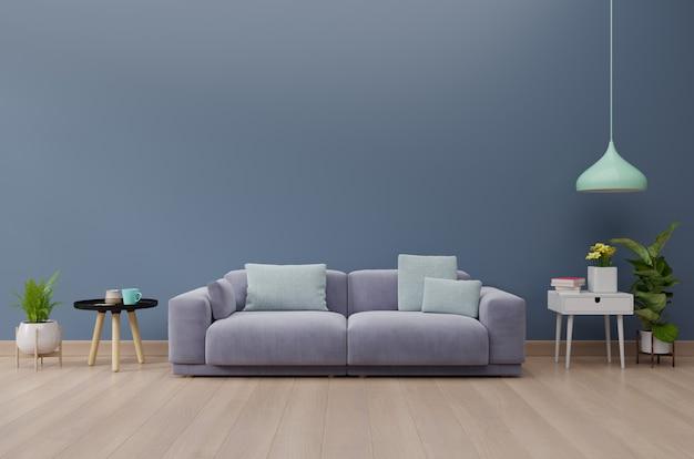 Interiore moderno del salone con il sofà e le piante verdi, tavola sulla priorità bassa blu scuro della parete. rendering 3d Foto Premium