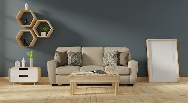 Interiore moderno del salone con il sofà e le piante verdi Foto Premium