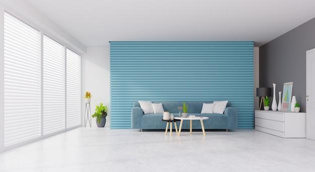 Interiore moderno del salone dell'annata con il sofà e le piante verdi, tavola sul fondo blu e bianco della parete. rendering 3d Foto Premium