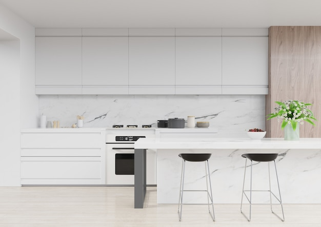 Interiore moderno della stanza della cucina, stanza moderna del ristorante Foto Premium