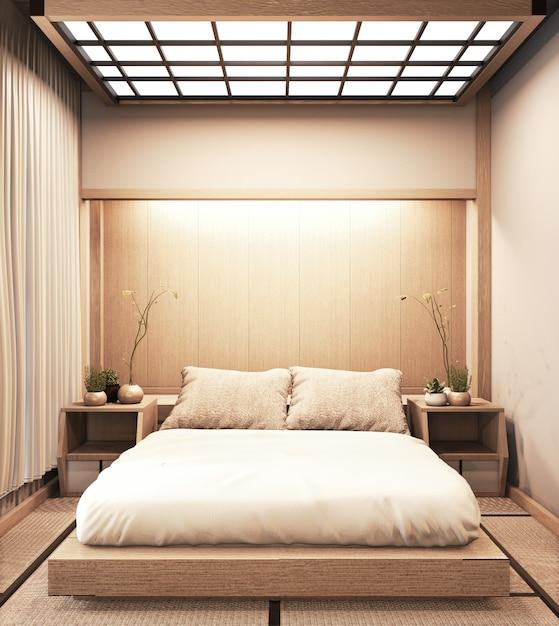 Interni camera da letto moderna di lusso in stile giapponese, finta, disegna la più bella. rendering 3d Foto Premium