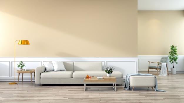 Interni moderni di soggiorno divano marrone su pavimenti in legno