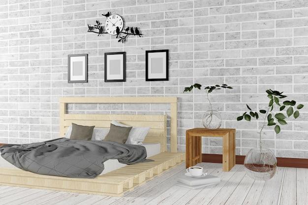 Camera Da Letto Stile Minimalista : Interno bianco della camera da letto minimal e stile loft
