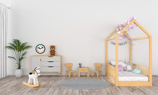 Interno bianco della stanza dei bambini per il modello Foto Premium