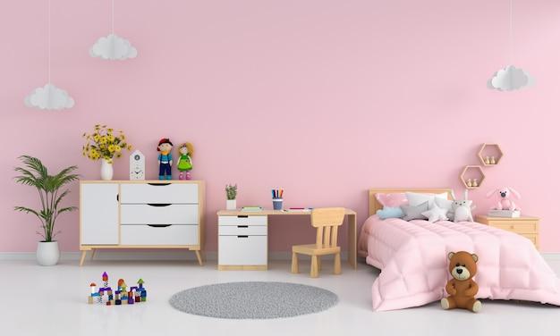 Interno camera da letto bambini rosa per mockup | Foto Premium