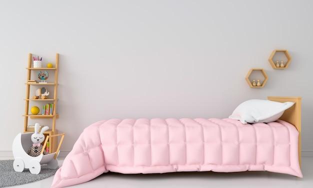 Interno camera da letto bambino bianco per mockup Foto Premium