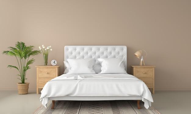 Interno camera da letto marrone per il modello Foto Premium