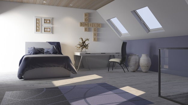 Interno della camera da letto contemporanea 3d Foto Gratuite
