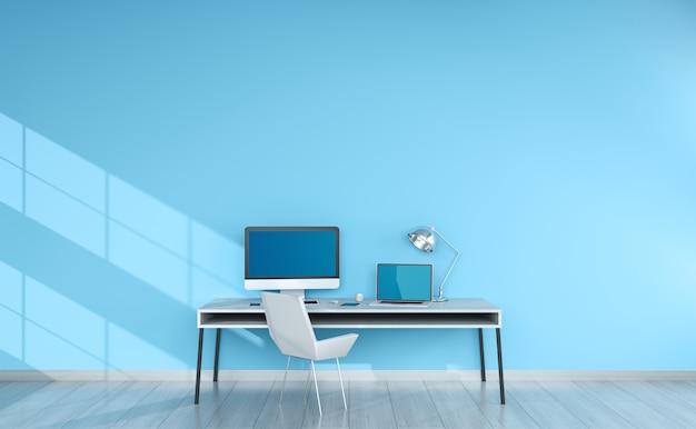 Interno desktop blu moderno con la rappresentazione dei dispositivi 3d Foto Premium