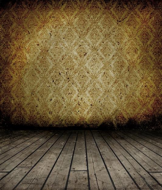 Interno di grunge con pavimento in legno e carta da parati for Pavimento in legno interno