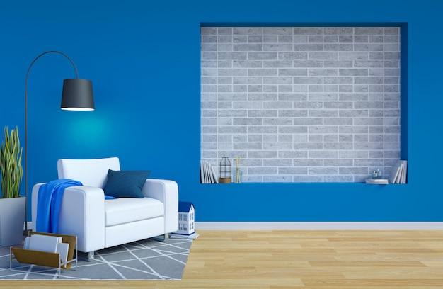 Interno moderno contemporaneo del salone con lo spazio blu della copia e della parete per mock up, rappresentazione 3d Foto Premium