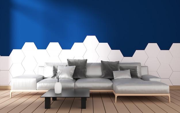 Interno moderno del salone con la decorazione della poltrona e piante verdi sulle mattonelle blu di esagono sulla parete, progettazione minima, rappresentazione 3d Foto Premium