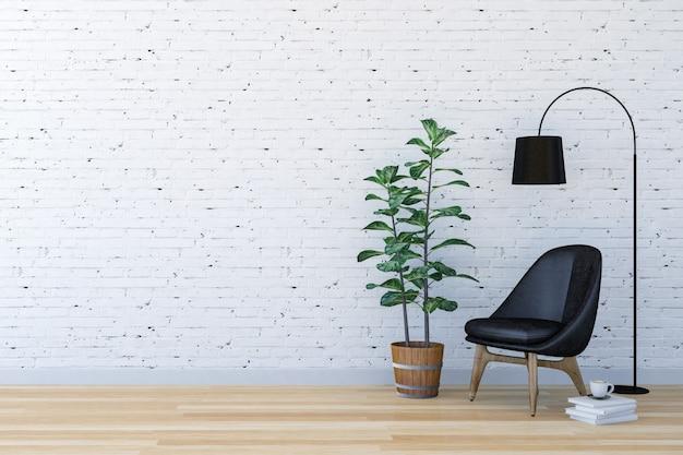 Interno moderno del salone del mattone bianco con spazio vitale, rappresentazione 3d Foto Premium
