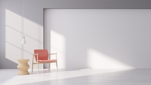 Interno moderno di vivere con la poltrona rosa del tessuto sul pavimento di legno bianco e sulla parete bianca, stile minimo, rappresentazione 3d Foto Premium