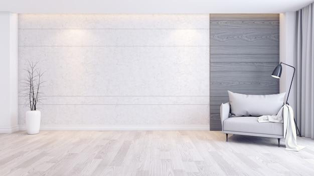 Interno moderno e minimalista degli interni del salotto, poltrona grigia sul pavimento di legno e muro di cemento Foto Premium