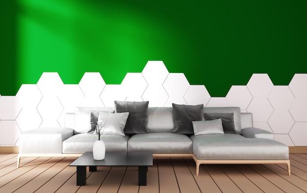 Interno soggiorno moderno con decorazione poltrona e piante verdi Foto Premium