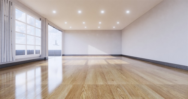 Interno stanza vuota con pavimento in legno a parete. rendering 3d Foto Premium