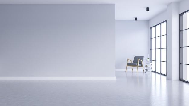 Interno vuoto moderno del salone, parete bianca e pavimento di calcestruzzo con la finestra nera della struttura Foto Premium