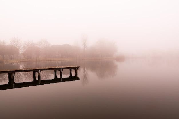 Inverno e scena del lago nebbioso Foto Premium