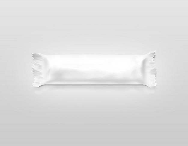 Involucro di plastica bianco in bianco della barra di caramella isolato Foto Premium