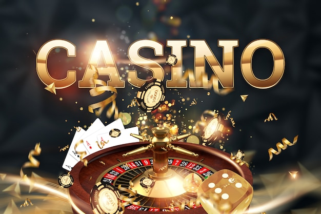 Iscrizione casinò, roulette, dadi da gioco, carte, fiches del casinò su uno sfondo verde. Foto Premium