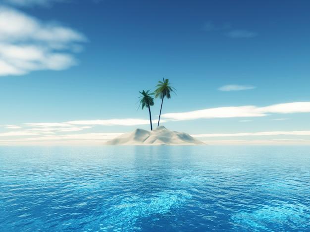 Isola tropicale della palma 3d Foto Gratuite