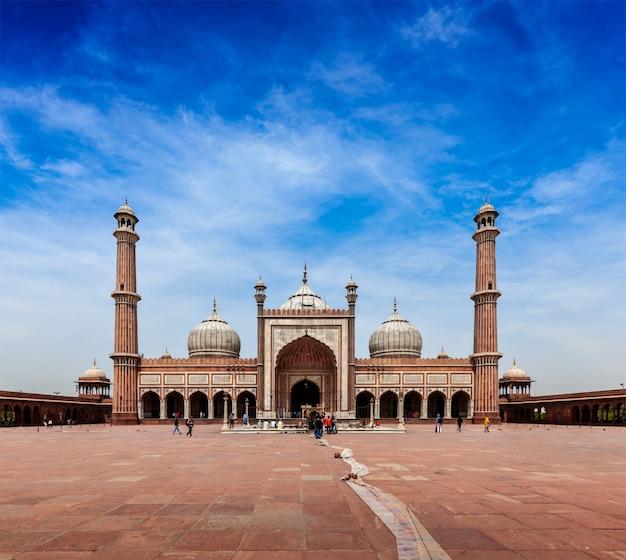 Jama masjid - la più grande moschea musulmana in india Foto Premium