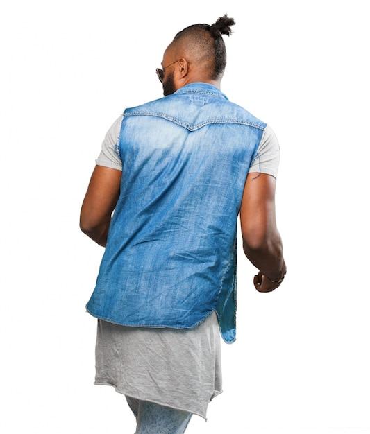 L'uomo in jeans Scaricare di foto sulla schiena una gratis giacca SZwBSqx