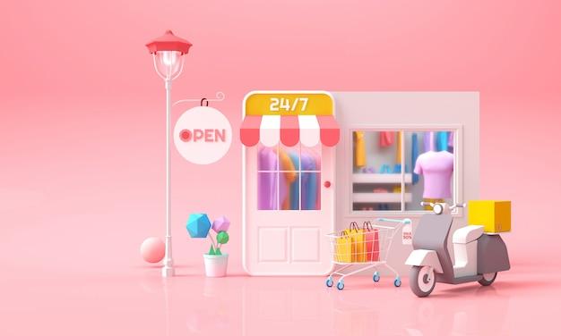 L'acquisto online sul telefono, sul servizio online mobile del deposito con i vestiti, il carrello e il concetto del pacchetto della consegna per l'insegna di web, il modello, la vendita e la vendita digitale 3d rendono l'illustrazione. Foto Premium