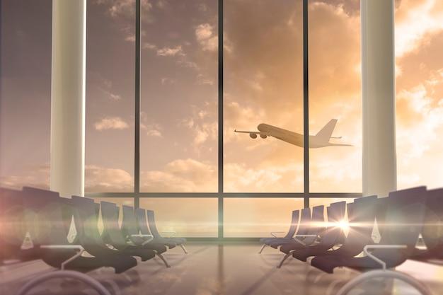 L'aeroplano che vola oltre lascia la finestra del salotto Foto Premium