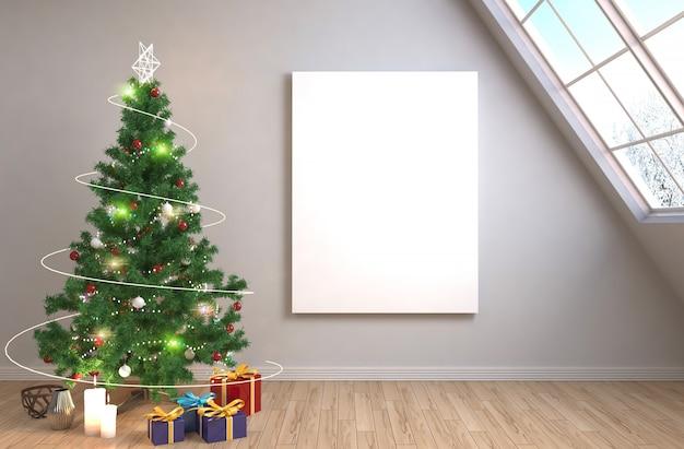 L'albero di natale con le decorazioni nel salone ha reso l'illustrazione Foto Premium